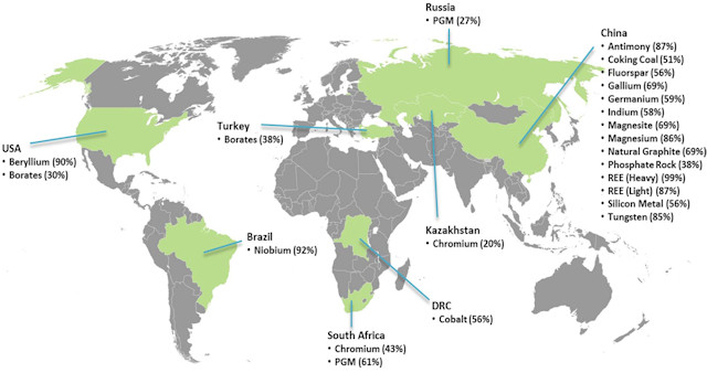 World map by critical raw materials availability