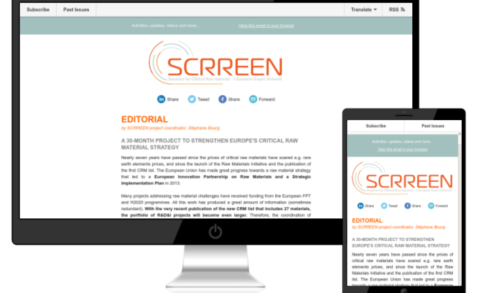 SCRREEN newsletter webpage
